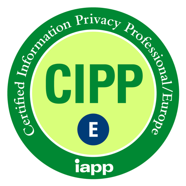 CIPP - Certified Information Privacy Professional/Europe (iapp) accreditation badge